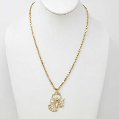 257	  14k Gold Chain With 14k Gold Scorpion Pendant, 20.3g Weighs Approx 20.3g. Measures Approx 21