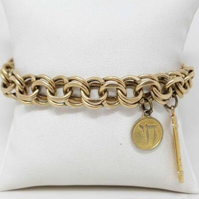 268	  14k Gold Charm Bracelet, 39.6g Weighs Approx 39.6g Measures Approx 7.5