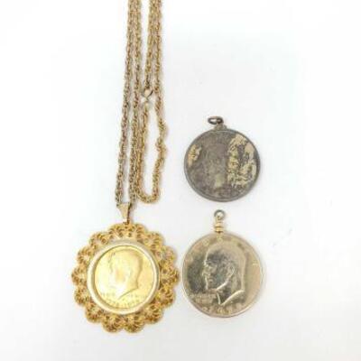 #706 • Silver Peace Dollar Pendant, Kennedy Half Dollar Pendant, Eisenhower Pendant