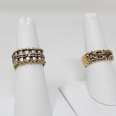 283	  Two 14k Gold Rings, 11.9g Weighs Approx 11.9g. Size 6-7.