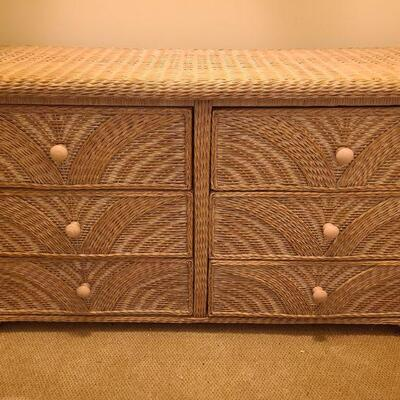 Six drawer wicker dresser, measures 53