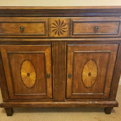 Beautiful cherry inlay accent chest with drawer and cabinet. Measures 40