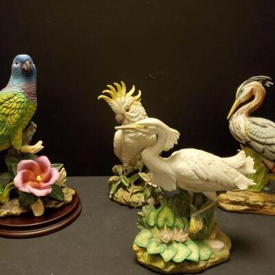 Collection of porcelain bird figures. Bluehead Parrot Andrea by Sadek is 10
