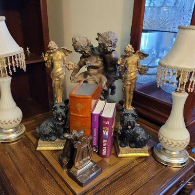 Set of End Table Lamps, Candle Holders, Book Ends, Storage Box Book, Shelving Decor.  https://ctbids.com/#!/description/share/768305
