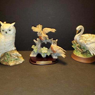 Collection of porcelain bird figures. Owl 8.5