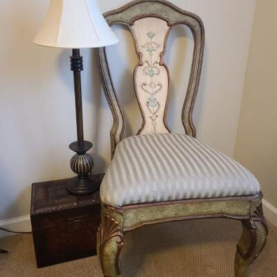Beautiful Pulaski chair in a green distressed finish measures 20