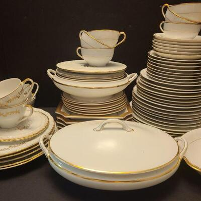 Set of sixty four pieces. Not all a matching set pieces made in Germany, England, The Yukon and Japan. Six Noritake tea plates measuring...