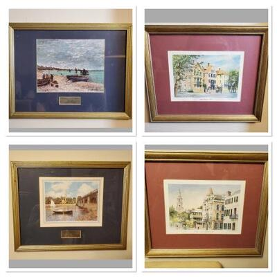 Set of 4 prints. Little Rainbow Row and Looking North on Meeting Street by Emerson. The Beach at Monet Art Institute of Chicago and The...