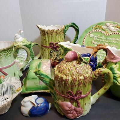 Cute collection of green and white ceramic pitchers and more. Hand painted plate 10.5