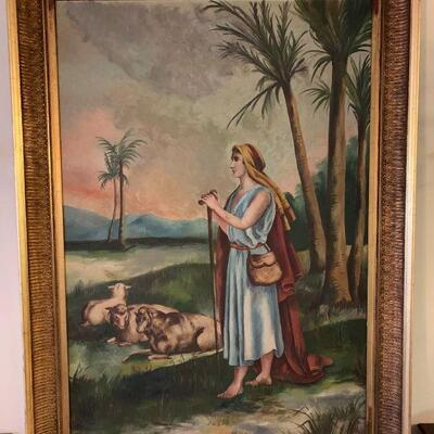 Artistic frames oil painting of David the shepherd boy with sheep. The frame is ornate and has very detailed scroll work and flourishes...