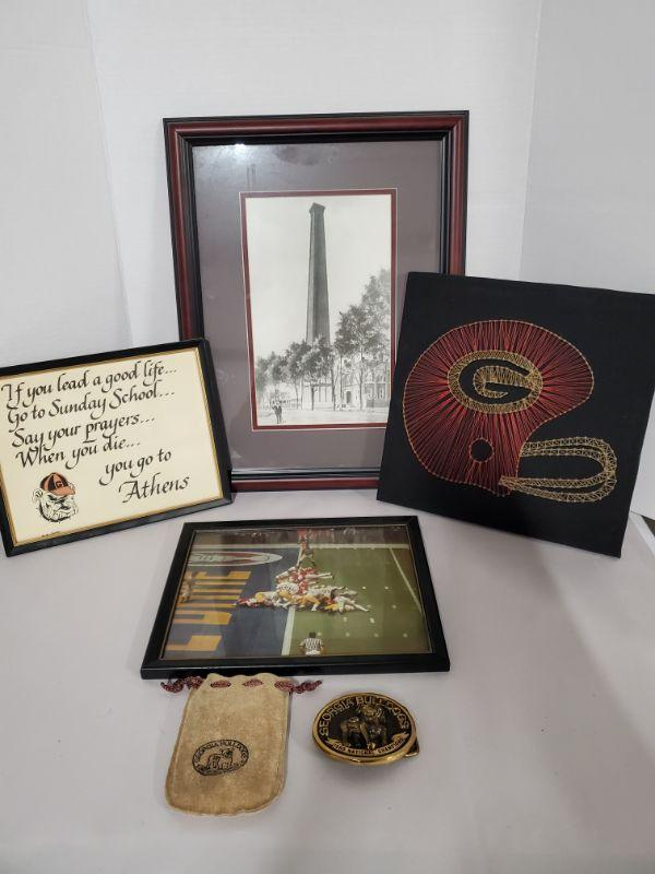 """Collection of Georgia Bulldogs memorabilia. String art is 11x11"""", large framed picture 14x18"""", belt buckle 3.5""""  https://ctbids.com/#!/description/share/768475"""