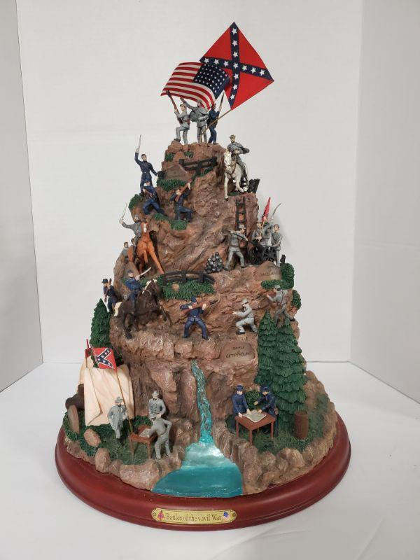 "Hawthorne Village Great Battles of The Civil War masterpiece tabletop #A0048 2007. Statue features scenes from Battle of Wilderness, Battle of Shiloh, Battle of Gettysburg and other battles in history. Base 13"" and height 16"" https://ctbids.com/#!/description/share/768464"