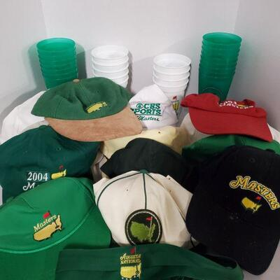 Collection of hats from Augusta Masters and a nice set of plastic cups from 2008. Green cups are not dated....