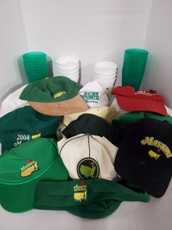 Collection of hats from Augusta Masters and a nice set of plastic cups from 2008. Green cups are not dated.  https://ctbids.com/#!/description/share/768496