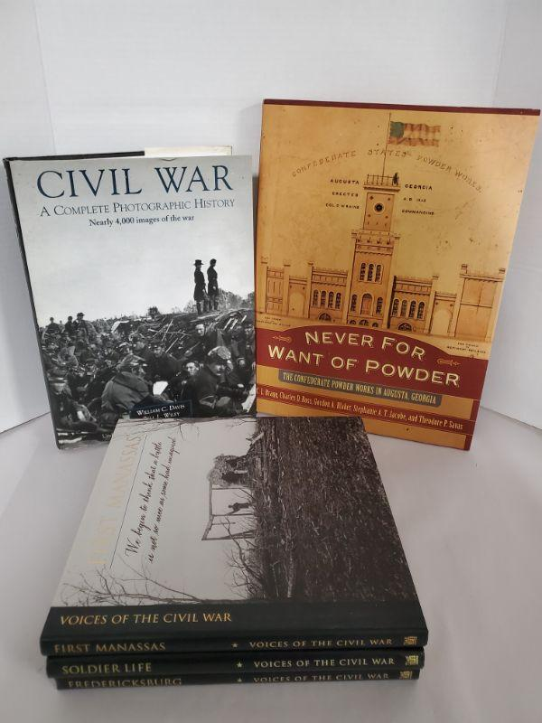 Books on Civil War includes 3 Time Life Voices of The Civil War, Civil War A Complete Photographic History and Never For Want of Powder, signed by multiple authors.  https://ctbids.com/#!/description/share/768481