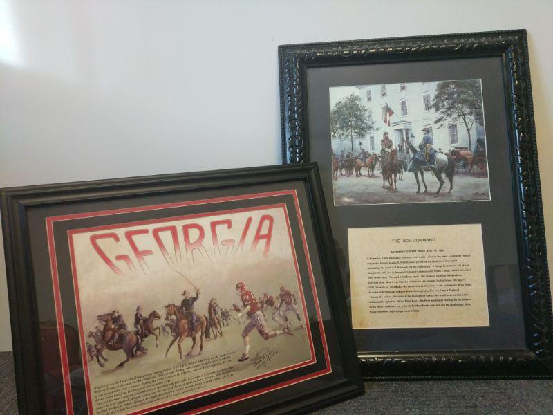 """The beautifully framed and matted """"The High Command"""" measures 21""""x28.5"""". Also beautifully matted, the """"Georgia"""" print is signed by artist (Billy Hinkle) and measures 22""""x18"""".  https://ctbids.com/#!/description/share/768492"""