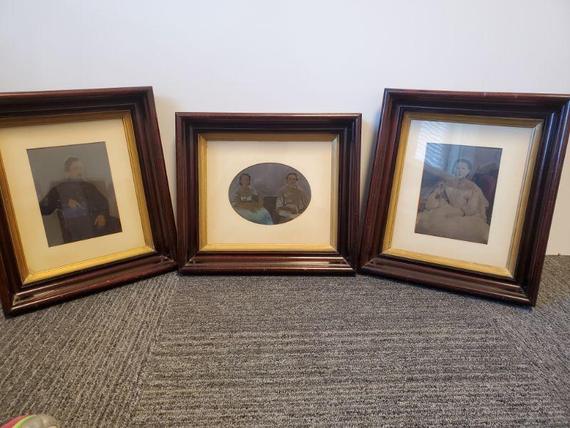 "Set of 3 antique framed photographs. 14x17"" Photos are named on back. ""Elizabeth Rebecca Spencer Gilmer"" ""James and Melinda Williams"" ""Thomas Merriweather Gilmer""  https://ctbids.com/#!/description/share/768467"