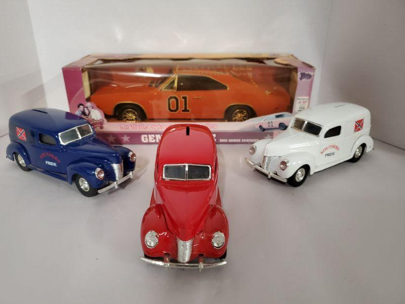 """1:18 scale Dukes of Hazard General Lee diecast with realistic light and sound action. Tested and not working. 3 Ertl American Classics 1940 Ford Diecast banks 7"""".  https://ctbids.com/#!/description/share/768456"""
