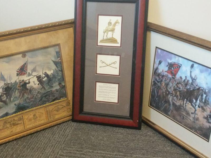 "Fight scene with money: 22""x18.5"" Gold leaf: 13""x24"" General Lee on horseback: 22""x18"" https://ctbids.com/#!/description/share/768469"