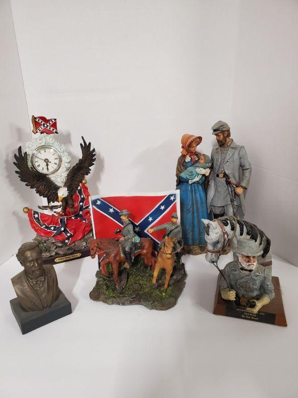 """Couple 12"""" General Lee and Traveler 5""""x6"""" Robert Lee bust 3.5""""x6"""" Men on horses with flag 8x7"""" Southern Heritage Collection clock needs a new battery 6x12"""" https://ctbids.com/#!/description/share/768488"""