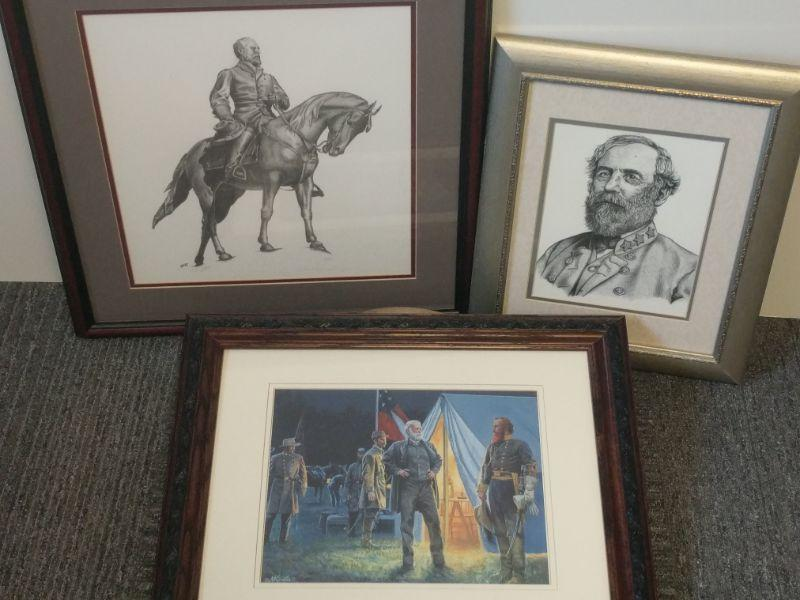 """Scott Dahart print on left of cover photo is signed by artist and numbered 118/150. It measures 21""""x22"""". The other two prints measure respectively 21.5""""x18"""" and 14""""x17"""". https://ctbids.com/#!/description/share/768510"""