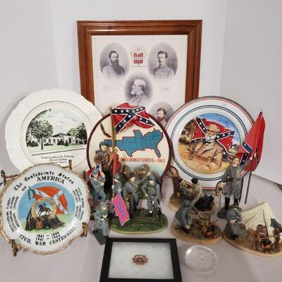 Collection of confederate memorabilia. Includes plates, pictures, resin statues and more. Plates 7-10