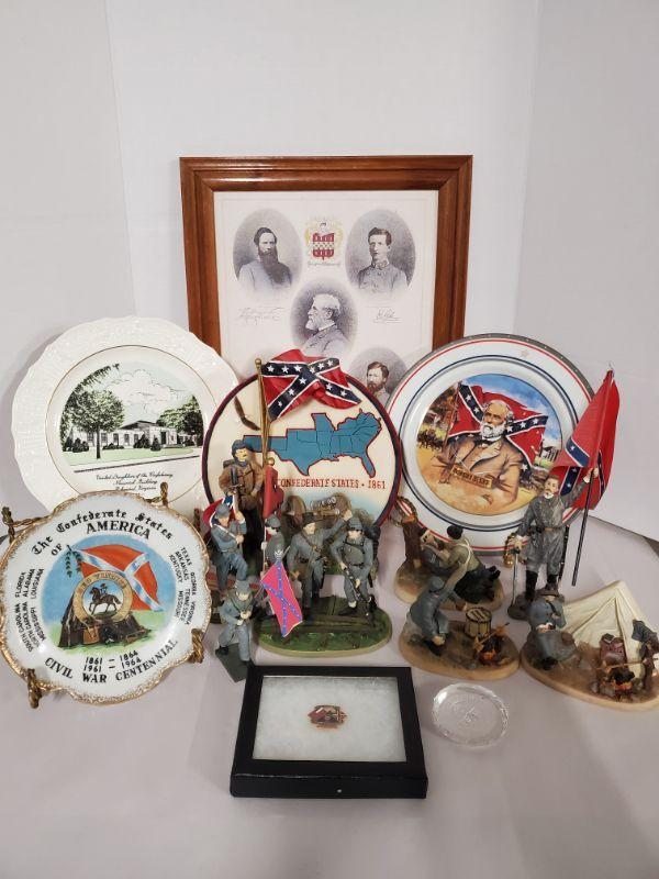 """Collection of confederate memorabilia. Includes plates, pictures, resin statues and more. Plates 7-10"""" in diameter.  https://ctbids.com/#!/description/share/768491"""
