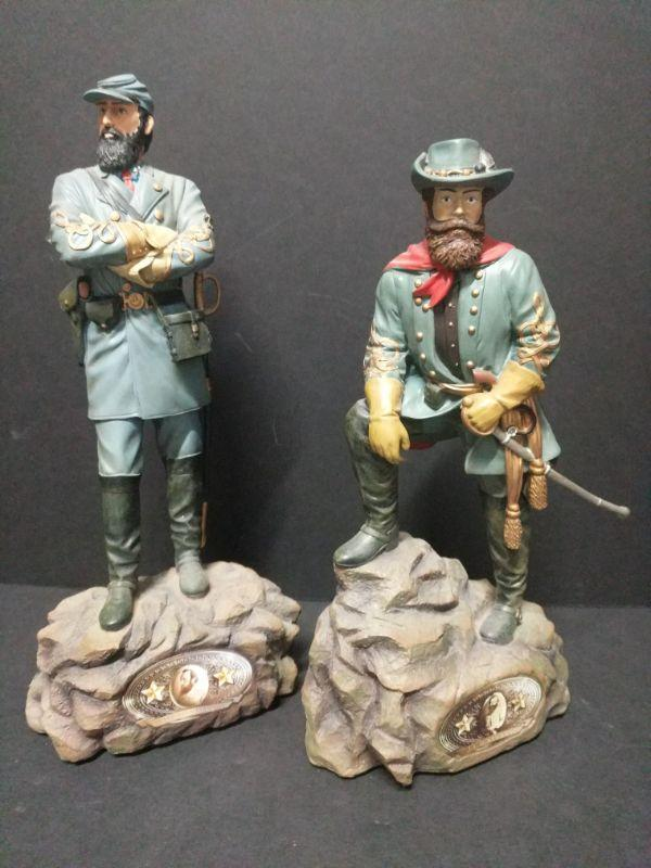 "The Bradford Exchange ""Leading the Charge"" Collectibles. 1- ""General Stonewall Jackson"" measures 12"" tall, and is no. A0193 2- ""J.E.B. Stuart"" measures 11"" tall, and is no. A0197  https://ctbids.com/#!/description/share/768453"