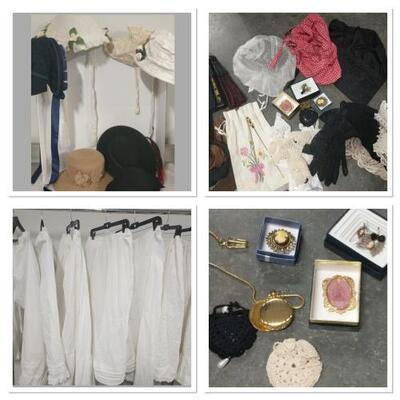 10 hats, 5 underskirts, 3 underpants, 4 fans, 4 Gloves, Cloth belts, Lace collars, Broaches and costume jewelry, Hair Accessories....
