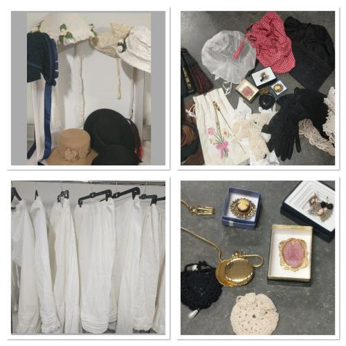 10 hats, 5 underskirts, 3 underpants, 4 fans, 4 Gloves, Cloth belts, Lace collars, Broaches and costume jewelry, Hair Accessories.  https://ctbids.com/#!/description/share/768498