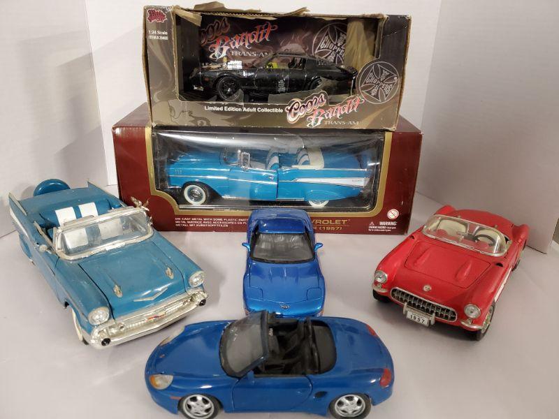 1:24 Scale Coors Bandit Trans Am, plastic on top is torn. 1:18 scale 1957 Chevy Bel Air in box 1:18 scale Chevy Bel Air out of box 1:18 scale 1957 Chevy Corvette 1:21 scale 2002 Chevy Corvette 1:24 scale Porsche Boxster  https://ctbids.com/#!/description/share/768485