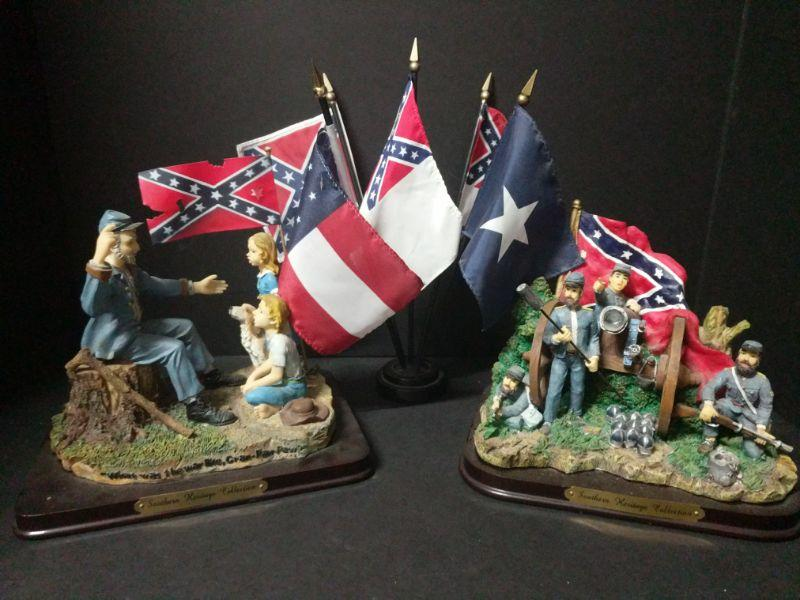 """Two Southern Heritage Collection pieces from 2001 (9""""x6""""x7""""). Comes with five flags in stand (12"""" tall).  https://ctbids.com/#!/description/share/768499"""