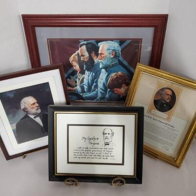 Collection of framed prints featuring General Lee. The Generals Were Brought to Tears 17x18