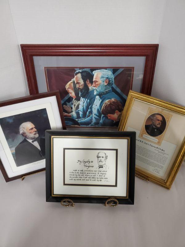 """Collection of framed prints featuring General Lee. The Generals Were Brought to Tears 17x18"""" Loyal to Virginia, Farewell Order and painting are approximately 10x12""""  https://ctbids.com/#!/description/share/768483"""