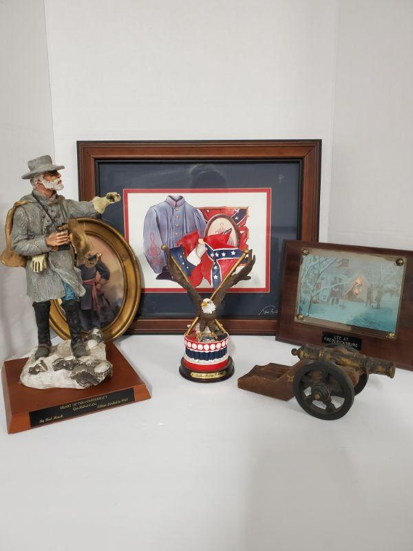 """Heart of Confederacy General Lee by Rod Bench 7x13"""", wood cannon 8x3"""", Southern Heritage eagle 3.5x10"""", Lee at Fredericksburg 7x9"""", Tom Butler framed confederate uniform 14x16"""", oval picture 7x9"""".  https://ctbids.com/#!/description/share/768463"""
