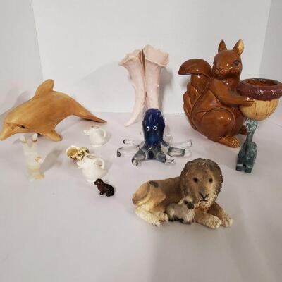 Collection of animals. Includes a cute ceramic squirrel with acorn that can hold a candle votive 7