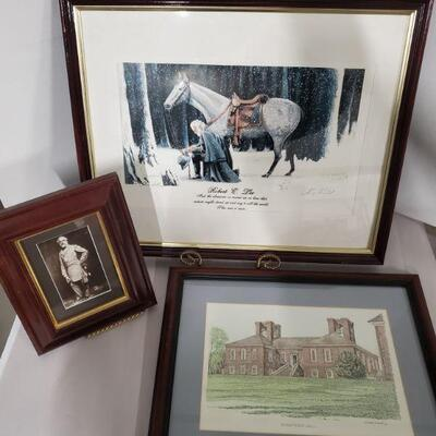 Collection of prints. Robert E.Lee with Traveler framed print signed by Larry Arnold is 22x18