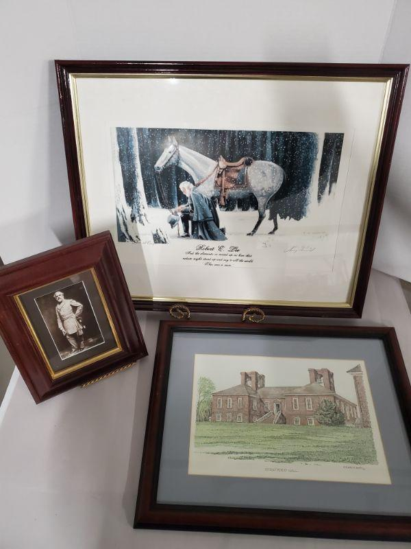 """Collection of prints. Robert E.Lee with Traveler framed print signed by Larry Arnold is 22x18"""" Framed print 8x11"""", Stratford Hall by Clark Goff 1982 is 14x18"""".  https://ctbids.com/#!/description/share/768484"""