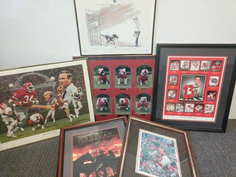 "Legends of Glory 28""x22"" -UGA Bulldogs 28""x22"" -2002 SEC Champions 22""x26"" -An Athletic Heritage 18""x22"" -Firetrail 20""x26"" -Lewis Grizzard 20""x16""  https://ctbids.com/#!/description/share/768461"