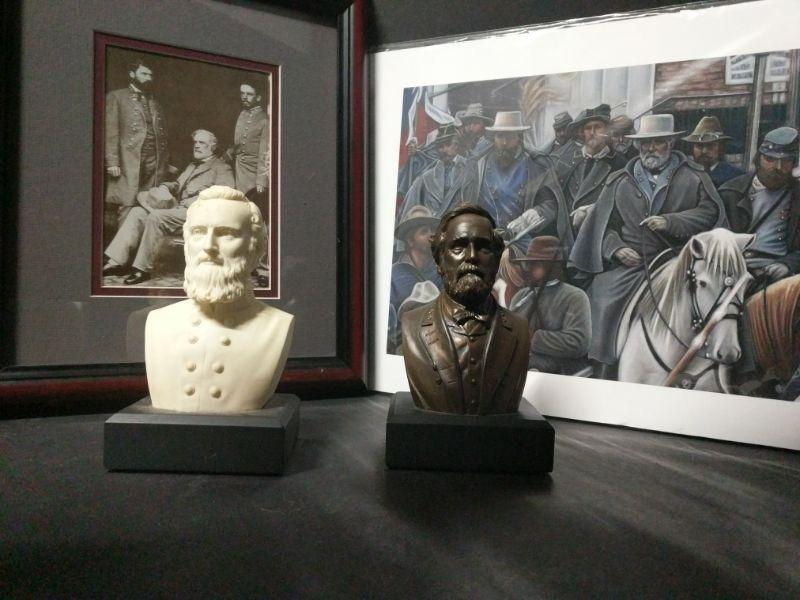 """The first artwork appears to be a copy of a photo of Robert E. Lee. It measures 11""""x13"""". The second artwork is a print of an original pastel by Deborah L. Olson called """"Cold Victory"""". It is unframed and measures 14""""x11"""". Each of the two busts measure 5"""" tall. https://ctbids.com/#!/description/share/768500"""