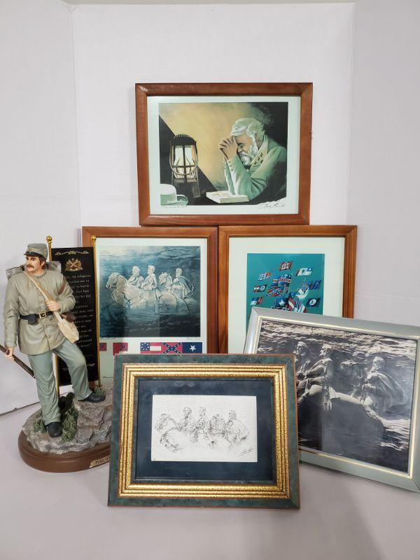 """Collection of framed prints of Stone Mountain and more. Up on Spirit Mountain, Thy Will Be Done and The Last Watch signed by Larry Arnold are 10x12"""". 2012 Bradford Exchange Pride of The South General Stonewall Jackson numbered A0031 of 1000 and is 7x13"""".  https://ctbids.com/#!/description/share/768482"""