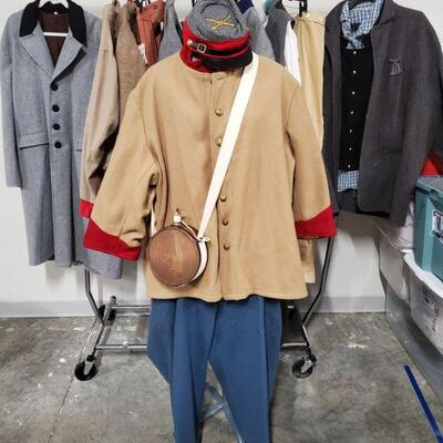 Collection of men's civil war Reenactment clothing and accessories. Sizes are XL and larger. Mannequin and rack are not included....