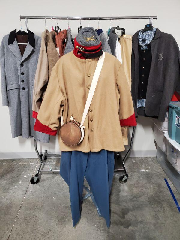 Collection of men's civil war Reenactment clothing and accessories. Sizes are XL and larger. Mannequin and rack are not included.  https://ctbids.com/#!/description/share/768460