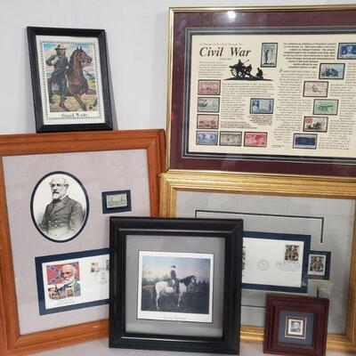 Collection of prints with stamps from Civil War which includes Lee, Waite and more. Civil War frame 12x16