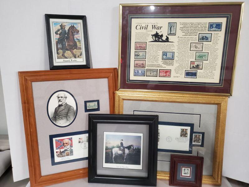 """Collection of prints with stamps from Civil War which includes Lee, Waite and more. Civil War frame 12x16"""" Lee on Traveler 10x10"""" Largest frame 14x17"""" https://ctbids.com/#!/description/share/768455"""