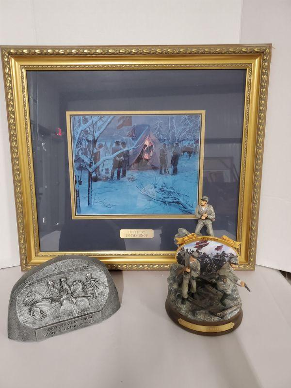"Strategy in The Snow print is matted in a 21x24"". 2006 Bradford Exchange Gettysburg ""Charge of The Confederacy"" by John Paul Strain numbered 1282 is 7"" x 9.5""H. Heavy silver confederate memorial Stone Mountain Georgia is 9x6"".  https://ctbids.com/#!/description/share/768480"