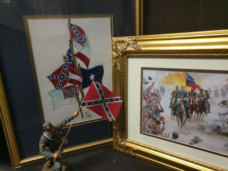 """Signed by artist J. James and numbered (38/250) print measures 18""""x22"""". Comes with other flags in a Robert E. Lee print and a statue.  https://ctbids.com/#!/description/share/768509"""