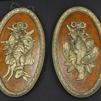 Vintage bronze game plaques