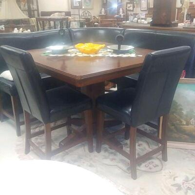 tall pub table benches and pair of chairs will seat 7 people  sale 300.00