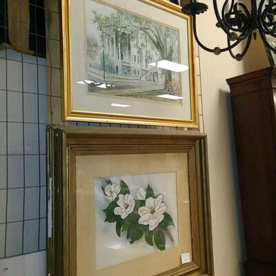 Signed Magnolia Watercolor  40.00